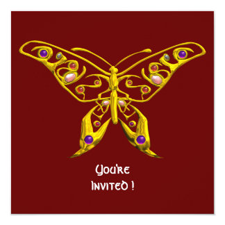"HYPER BUTTERFLY ,red 5.25"" Square Invitation Card"