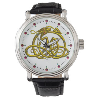 HYPER DRAGON,GOLD CELTIC KNOTS AND GEMSTONES White Wrist Watches