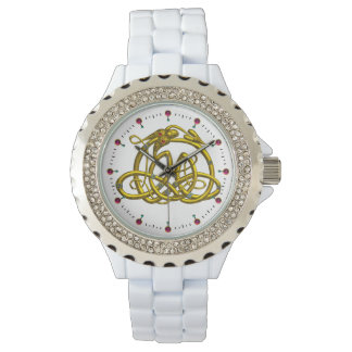 HYPER DRAGON,GOLD CELTIC KNOTS AND GEMSTONES White Wristwatches