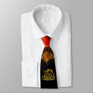 HYPER DRAGON,GOLD CELTIC KNOTS Orange Black Swirls Tie