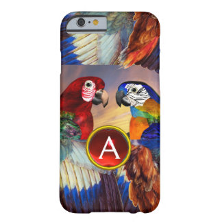 HYPER PARROTS /RED AND BLUE ARA GEMSTONE MONOGRAM BARELY THERE iPhone 6 CASE