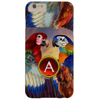 HYPER PARROTS /RED AND BLUE ARA GEMSTONE MONOGRAM BARELY THERE iPhone 6 PLUS CASE