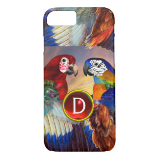 HYPER PARROTS /RED AND BLUE ARA GEMSTONE MONOGRAM iPhone 8/7 CASE