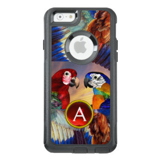 HYPER PARROTS /RED AND BLUE ARA GEMSTONE MONOGRAM OtterBox iPhone 6/6S CASE