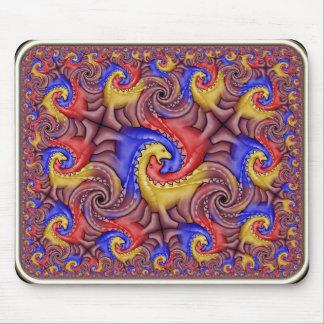 Hyperbolic Dinosaur Tessellation Mouse Pad
