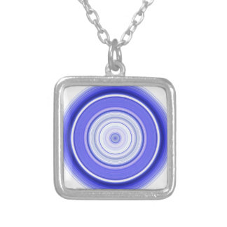 Hypnotic Circle Blue White Silver Plated Necklace