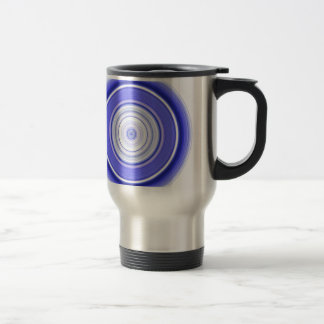 Hypnotic Circle Blue White Travel Mug
