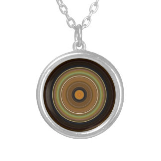 Hypnotic Circle Brown Green Orange Silver Plated Necklace