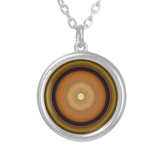 Hypnotic Circle Brown Silver Plated Necklace
