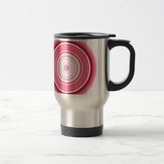 Hypnotic Circle Fuchsia White Travel Mug