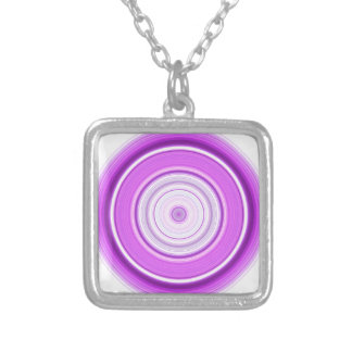 Hypnotic Circle Purple Silver Plated Necklace