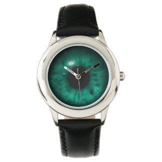 Hypnotic Deep Aqua Marine Green Eye Retina Wrist Watches