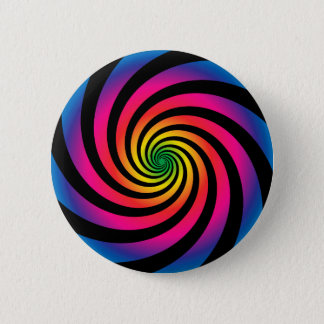 HYPNOTIC DISC Mesmerizing Neon Color Vortex Spiral 2 Inch Round Button