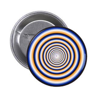 Hypnotic Fuzzy White Crazy Circular Vortex Disc 2 Inch Round Button