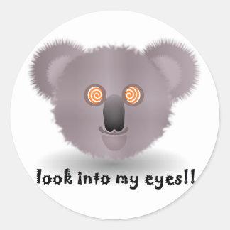 hypnotic koala bear round sticker
