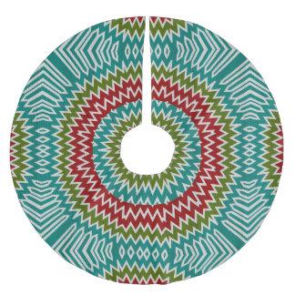 Hypnotic mandalaic flower brushed polyester tree skirt