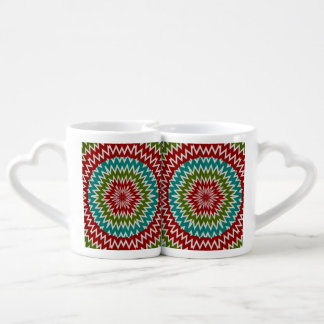 Hypnotic mandalaic flower coffee mug set