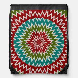 Hypnotic mandalaic flower drawstring bag