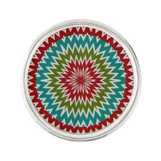 Hypnotic mandalaic flower lapel pin