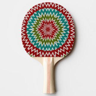 Hypnotic mandalaic flower ping pong paddle