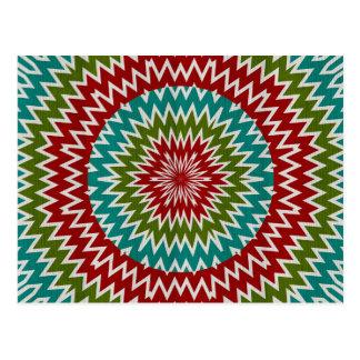 Hypnotic mandalaic flower postcard
