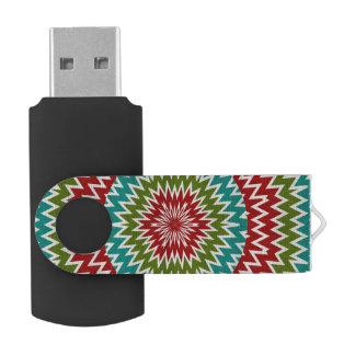 Hypnotic mandalaic flower swivel USB 2.0 flash drive