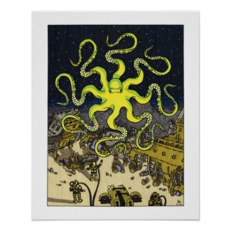 Hypnotic Octopus with Sunken Ships Poster