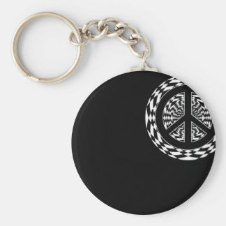 HYPNOTIC PEACE SIGN BASIC ROUND BUTTON KEYCHAIN