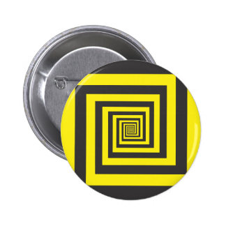 Hypnotic spiral in yellow and black 2 inch round button