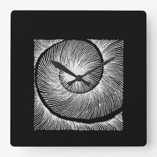 hypnotic spiral shell square wall clock