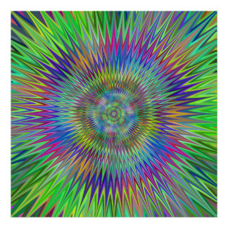 Hypnotic Star Burst Fractal Poster