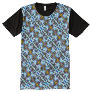 Hypnotic Swirls and Stars All-Over-Print T-Shirt