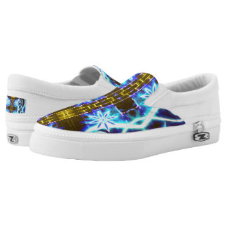 Hypnotic Swirls and Stars Slip-On Sneakers
