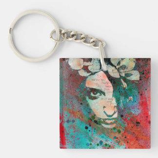 HYPOTHERMIA - graffiti flower girl portrait Keychain