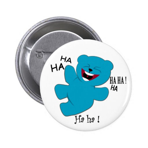 hysterical teddy bear fun character button