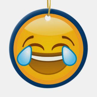 Hysterically Laughing Emoj Ceramic Ornament