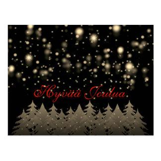 Hyvää Joulua Gold Starry Night Snowfall Trees Postcard
