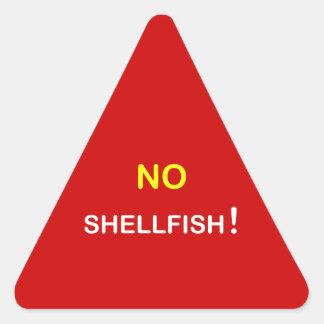i3 - Food Alert ~ NO SHELLFISH. Triangle Sticker