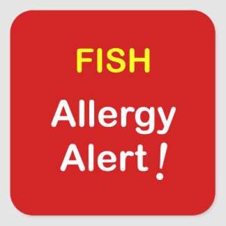 i7 - Allergy Alert - FISH. Square Sticker