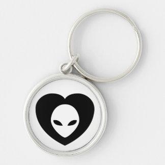 I <3 Aliens! keychain in black