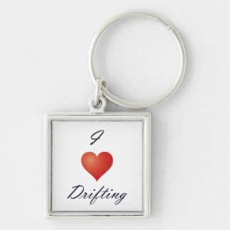 I <3 Drifting [Key chain] Silver-Colored Square Keychain