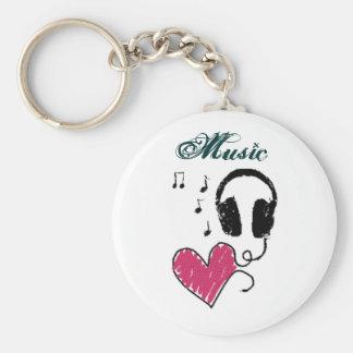 i <3 music basic round button keychain