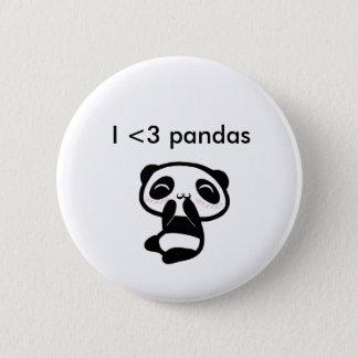 I <3 pandas 2 inch round button