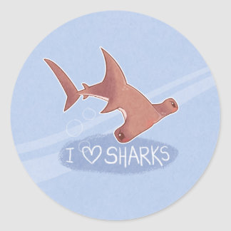 I <3 Sharks: Hammerhead Classic Round Sticker