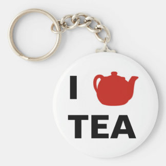 I <3 Tea Basic Round Button Keychain