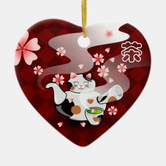 I <3 Tea Maneki Neko Sakura ornament