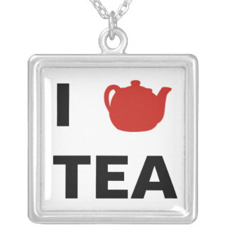 I <3 Tea Square Pendant Necklace