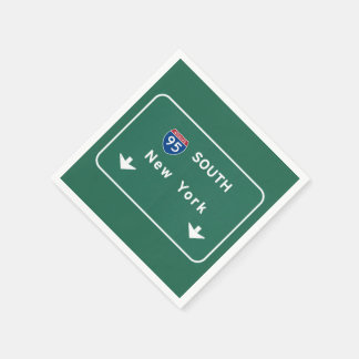 I-95 Interstate New York Empire State NY Highway Disposable Napkins