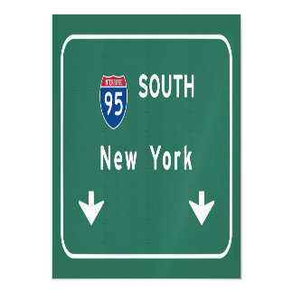 I-95 Interstate New York Empire State NY Highway Magnetic Invitations