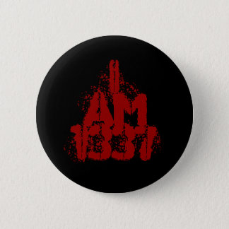 I Am 1337. Deep Red Text. Leet Gamer. 2 Inch Round Button